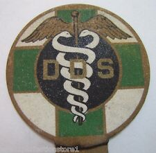 Old DDS Doctor Dental Surgery License Plate Topper Badge reflect dentist plaque