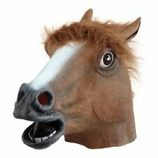 Fancy Dress Brown Horse Pony Rubber Overhead Mask
