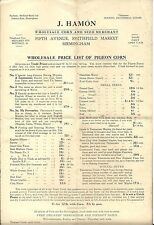 A 12 x 8 inch page. Wholesale Price List of Pigeon Corn - J. Hamon. Birmingham.
