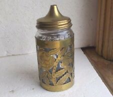 VINTAGE NESTLE EMB GLASS COCOA JAR WITH BRASS FLORAL CASING & TOP
