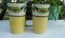 Maruhon Ware Japan Della Robia Pattern 2 Glasses 1930 Flower Garland Vintage