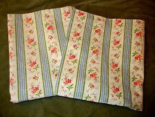 2 Crisp Rare RALPH LAUREN Jordan Floral Stripe Standard Pillowcases White Blue