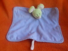 """Tex green mouse blue baby comforter blankie doudou 13"""""""
