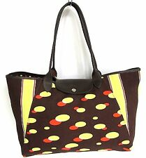 LONGCHAMP CANVAS LEATHER LARGE TOTE SHOULDER BAG HANDBAG