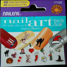 Nailene Nail Art Holiday stick on decals for fingers & toes  10 packs