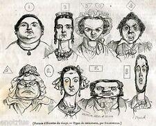 Espressioni del Viso: Caricature di Grandville.Stampa Antica + Passepartout.1836