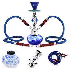 Hookah Complete Set 11'' 2 Hose Pink Tobacco Smoking Pipe Shisha Water Bong Blue