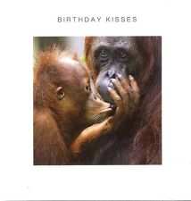 """CUTE """"BIRTHDAY KISSES"""" ORANGUTAN AND BABY CARD FOR MALE OR FEMALE (MONKEY IMAGE)"""
