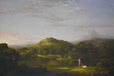 Free shipping Oil painting Thomas_Cole_The_Good_Sheperd with sheep in landscape