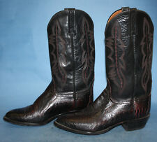 MENS LUCCHESE 2000 BLACK/MAROON LEATHER WESTERN/COWBOY/BIKER BOOTS sz 9 EE