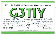 LEICESTERSHIRE - WOODHOUSE EAVES 1964 QSL Tranmission Confirmation Card  G3TIY
