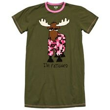 Lazy One Nightshirt Womans Nightgown Sleepwear Fatigued Moose Green Pink Camo