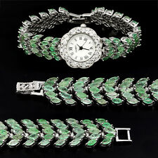 Sterling Silver 925 Five Row Genuine Natural Rich Green Emerald Watch 7 Inch