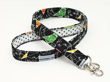 Key Chain Lanyard, Cute Fabric ID Holder, Back to School - math in black, dots