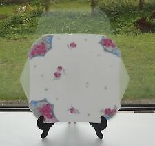 Shelley Art Deco China 12230 Pink & Blue Poppies Cake  Plate 1930s