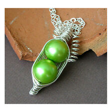 Handmade Peas In A Pod Peapod Green Freshwater Pearl Pendant Necklace