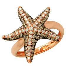 $2040 14K ROSE GOLD PAVE CHAMPAGNE COGNAC BROWN DIAMOND STARFISH COCKTAIL RING