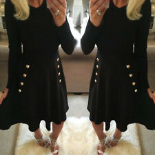 Fashion Womens Ladies Navy Military Button Detail Long Sleeve Skater Swing Dress