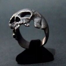 AMAZING STERLING SILVER SKULL RING HANDMADE MASONIC BIKER Harley All Sz US:8-14