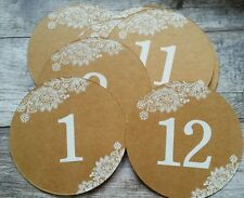 RUSTIC VINTAGE BROWN KRAFT TABLE NUMBERS 1-12 Wedding Decoration ROMANTIC FLOWER