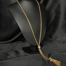 Gold Plated  Alloy Tassel Pendant Rhinestone Long Chain Sweater Necklace