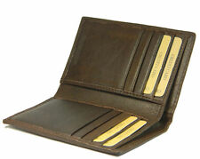Slim Brown real leather credit card oyster holder mini small thin bifold wallet