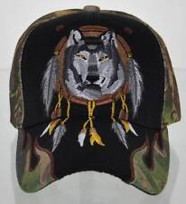 NEW! NATIVE PRIDE WOLF FLAME CAP HAT CAMO BLACK