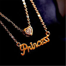Hot Lady Ladies Princess Letter Crystal 14 K Yellow Gold Plated Pendant Necklace
