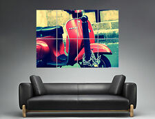 Red Rouge Vespa Vintage Scooter  Wall Art Poster Grand format A0 Large Print