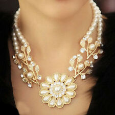 Women Rhinestone Artificial Pearl Flower Shape Bib Choker Chunky Collar Necklace