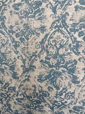 TURQUOISE  OYSTER CONTEMPORARY  DAMASK  DRAPERY UPHOLSTERY COTTON FABRIC