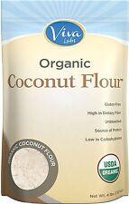 Viva Labs Organic Coconut Flour Non-GMO, and Gluten-Free, Organic, 4 lb Bag NEW