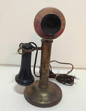 ANTIQUE 1904 BRASS WESTERN ELECTRIC CANDLE STICK PHONE