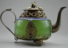 Collectible Decorated Old Handwork Jade & Tibet Silver Dragon Tea Pot Monkey Lid