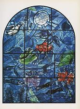 """1988 Vintage MARC CHAGALL """"REUBEN"""" FINISHED WINDOW COLOR Art Print Lithograph"""