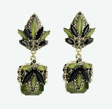 Fashion Retro Elegant Resin Leaf Flower Geometry Pendant Statement Stud Earring