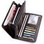 New Men's Leather ID Card Holder Zip Wallet Purse Clutch Checkbook Billfold