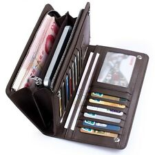 Men's Leather Bifold Wallet Checkbook ID Card Holder Zip Purse Clutch Billfold