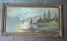 Vintage Oil Color Painting of  Sailing Boats and Cabin