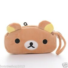 Portable 2 Layer Cartoon Rilakkuma Bear Plush Girls Coin Purse Wallet Bags