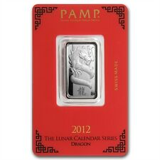 PAMP Suisse 2012 The Lunar Calendar Series Dragon 10 g gram .999 Silver Bar