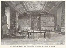 B7230 Museo del Louvre - Sala Dieulafoy - Incisione antica del 1888 - Engraving