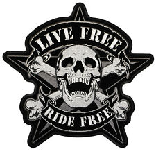LIVE FREE SKULL Backpatch groß Aufnäher Aufbügler Biker Chopper Patch Harley