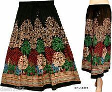 Ethnic Indian Rajasthani Banzara Print Crinkle Long Skirt Belly Dance Black-1375