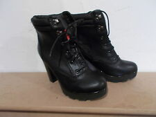 Bnwt size 3 EU 36 black textured faux leather lace up ankle boot RRP£28