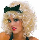Material Girlie Blonde Curly Short 80's Fancy Dress Wig with Bow