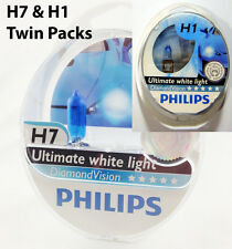 H7 & H1 PHILIPS Diamond Vision 5000K Genuine Twin Pack Headlight bulbs globe
