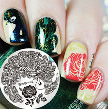 BORN PRETTY Nail Art Stamping Plate Peacock Flower Design Image Template  #01