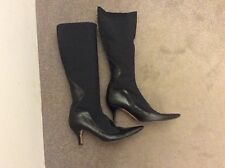 Hobbs Black Stretch Pierna Cuero Botas. Size UK 5.5/6