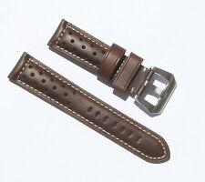 22mm Quality Thick Leather Padded Brown Watch Band - With Breathing Holes